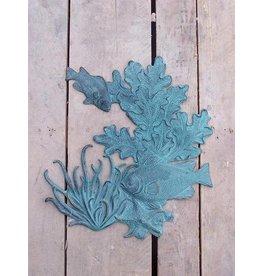 Muurdecoratie brons vissen en koraal