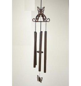 Windgong brons 70 cm vlinder