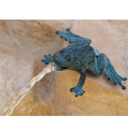 Beeld spuitfiguur brons kleine kikker
