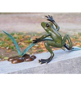 Bild-Bronze-Frosch in der Reed-Spray-Figur