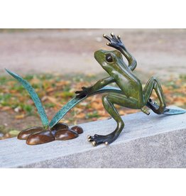 Eliassen Bild-Bronze-Frosch in der Reed-Spray-Figur