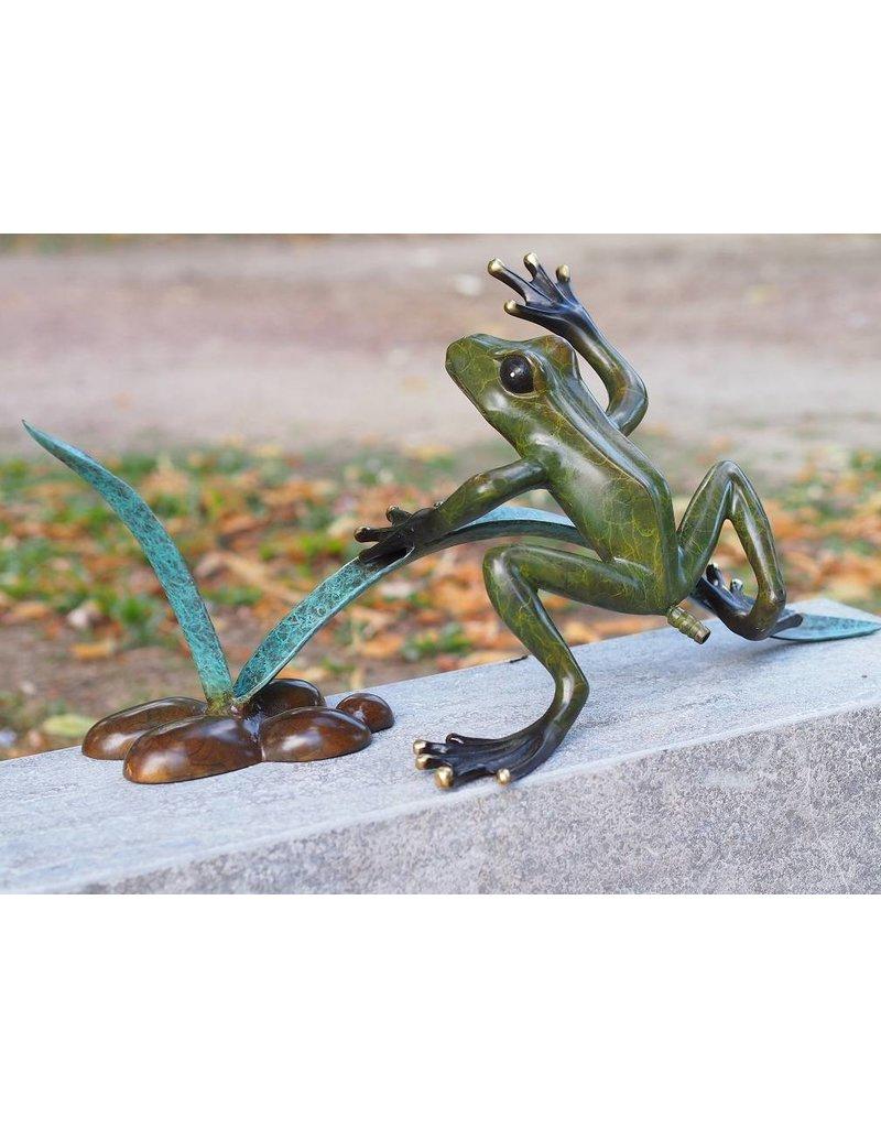 Bild Bronze Frosch im Schilf Spritze Figur