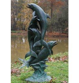 Spuitfiguur brons dolfijnen