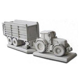 Tuinbeeld Fendt traktor met opraapwagen
