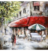 Eliassen 3D Gemälde Metall 100x100cm Paris Cafe 2