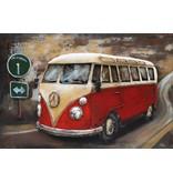 Eliassen 3D Gemälde Metall 120x80cm VW Bus rot mit Verkehrszeichen