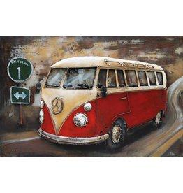 3D schilderij metaal 120x80cm VW bus rood