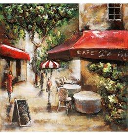 3D schilderij metaal 100x100cm Paris Cafe 3