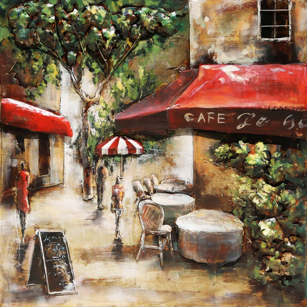 3d schilderij metaal 100x100cm paris cafe 3 eliassen home garden pleasure - Decoratie themakamer paris ...