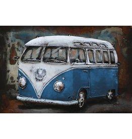 3D schilderij metaal 60x40cm VW bus blauw