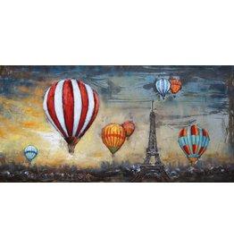 3D schilderij metaal 140x70cm Balloons Above Paris