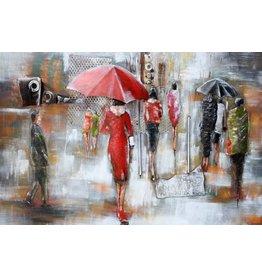 Metall Malerei Regen Zeit 80x120cm