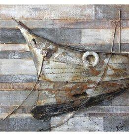 Holz Metall Malerei 3D Bogen 80x80cm
