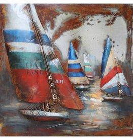 Metalen schilderij 3d 100x100cm Regatta 3