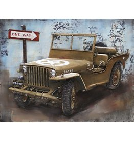 Eliassen schilderij metaal 3d 80x60cm Jeep