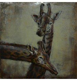 Malerei 3D-Metall-Giraffen 100x100cm