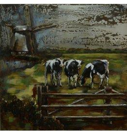 Schilderij 3D metaal koeien in de wei 100x100cm
