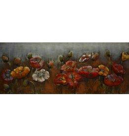 3D schilderij metaal rode bloemen 60x150cm