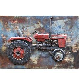 Schilderij metaal 3d Traktor 80x120cm