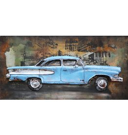 Schilderij ijzer 3d American car 70x140cm