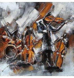 Eliassen 3d schilderij metaal 100x100cm Kamerorkest