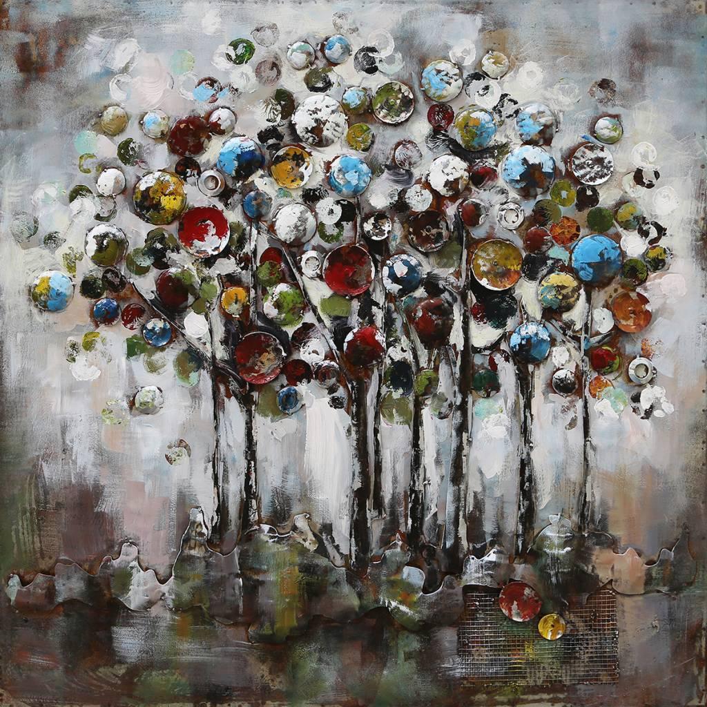 3-D-Malerei 100x100cm Fantasie Bäume