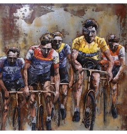 3-D painting 100x100cm Cyclists