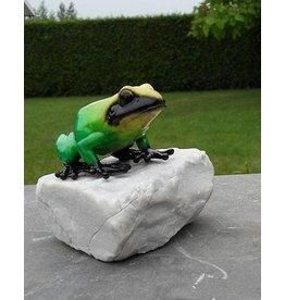 Bronze Frosch auf einem grünen Stein