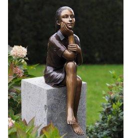 Bronze-Skulptur Denken Mädchen