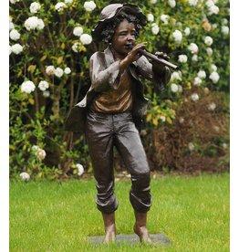 Bronze-Skulptur Boy mit Flöte