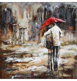 Metaal schilderij 100x100cm Regen