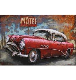 Metaal 3d schilderij 120x80cm Red Car
