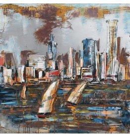 Metaal schilderij Skyline 100x100cm