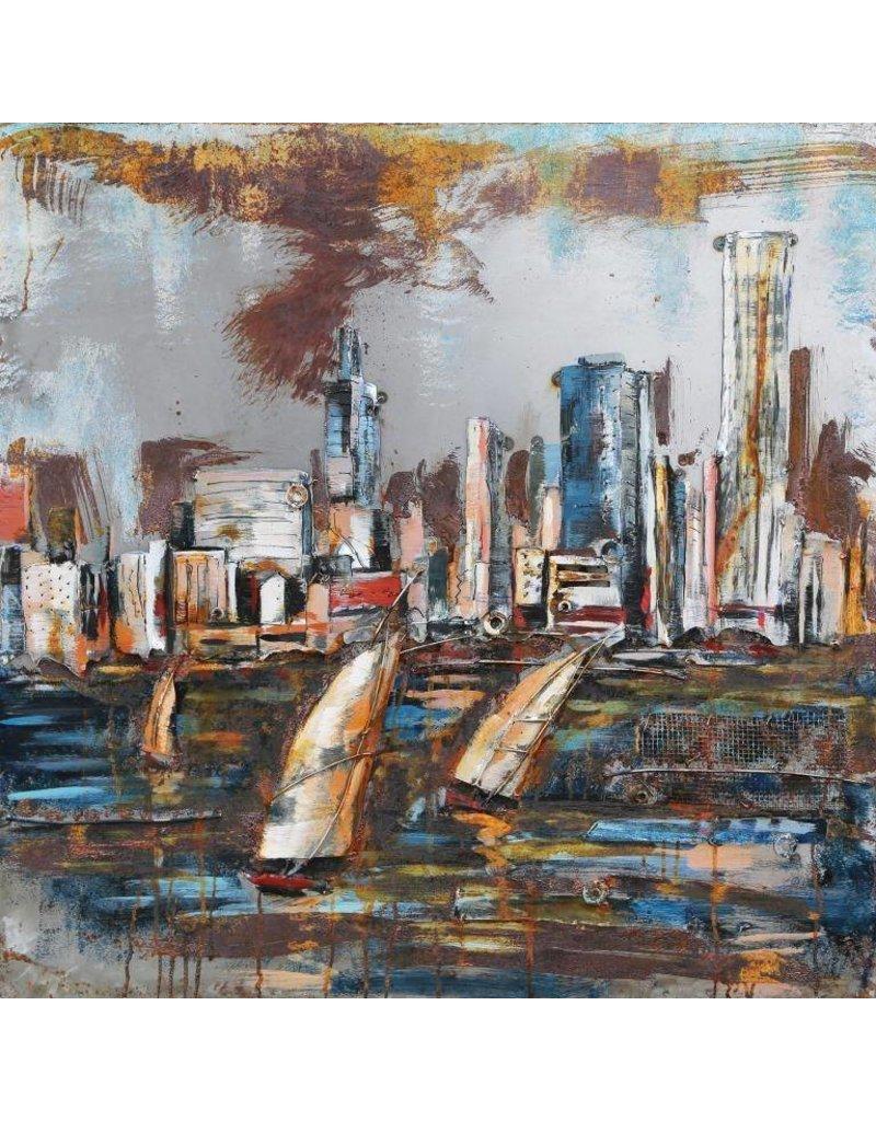 Metaal schilderij skyline 100x100cm eliassen home for Skyline schilderij