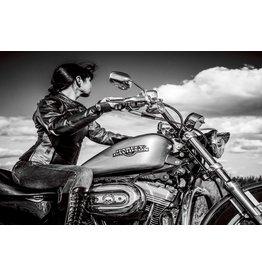 Glasmalerei 80x120cm Frau auf dem Motorrad