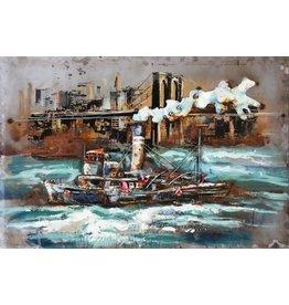 Metall Malerei Tugboat 80x120cm