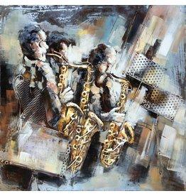 Metaal schilderij 100x100cm Saxofoons