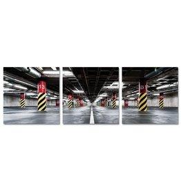 Glasschilderij 80x80x0,4cm 3 Luik Garage