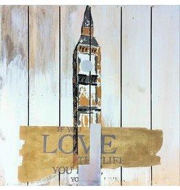 Öl auf Holz Malerei Turm 60x60cm