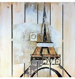 Olie op houtschilderij Eiffel 60x60cm