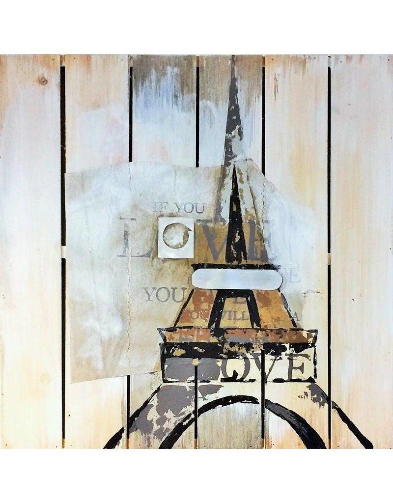 Großartig Öl auf Holz Malerei Eiffel 60x60cm - Eliassen Home & Garden Pleasure RD33