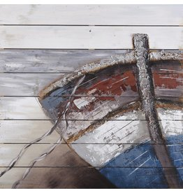 Olie op houtschilderij Boat 1 80x80cm