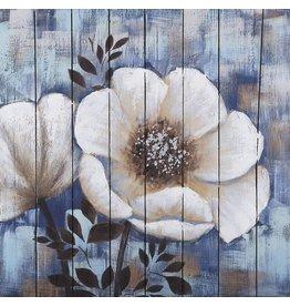 Olie op hout schilderij Flowers 4 80x80cm
