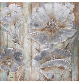 Olie op houtschilderij Flowers 7 100x100cm