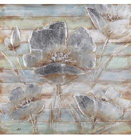 Olie op houtschilderij Flowers 8 100x100cm