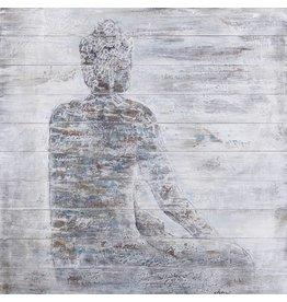 Olie op hout schilderij Boeddha 1 100x100cm