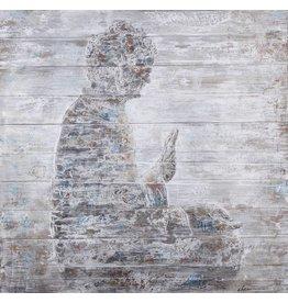 Olie op hout schilderij Boeddha 2 100x1100cm