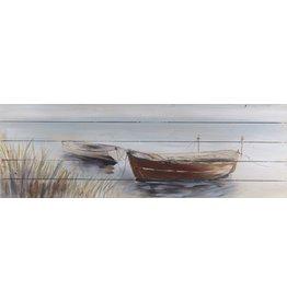 Öl auf Holz Malerei Boote 3 50x150cm