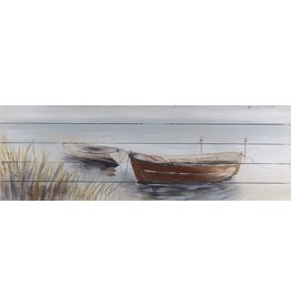 Olie op hout schilderij Boats 3 50x150cm