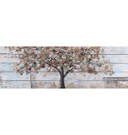 Olie op hout schilderij Tree 2 50x150cm